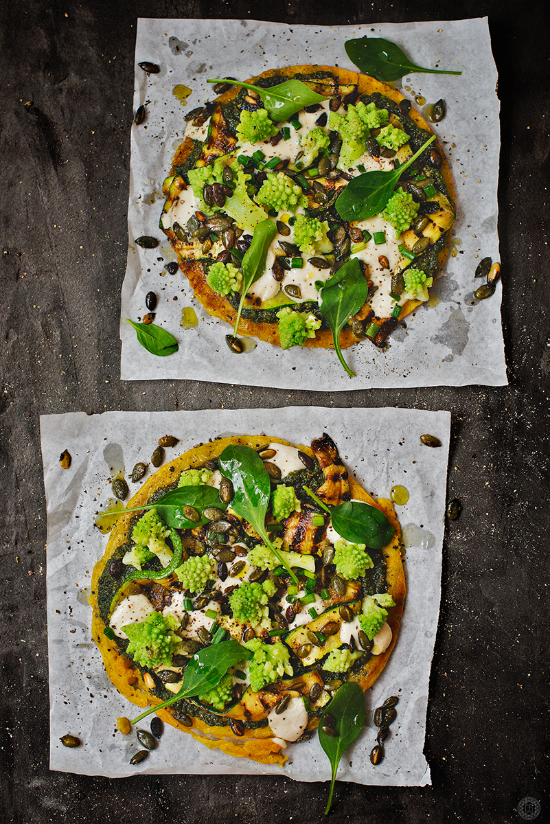 Broccoli and chargrilled zucchini flatbread with pumpkin seed pesto and cashew cream cheese by claire gunn