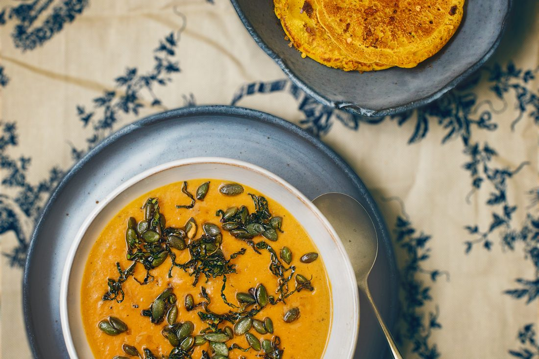 Curried cabbage soup with chickpea pancakes by claire gunn
